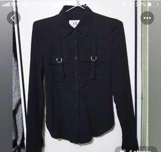 Black vintage Armani Exchange Shirt with adjustable back strap military look
