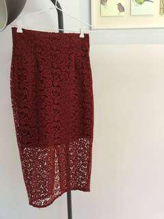 Zara Burgundy Lace Midi Skirt