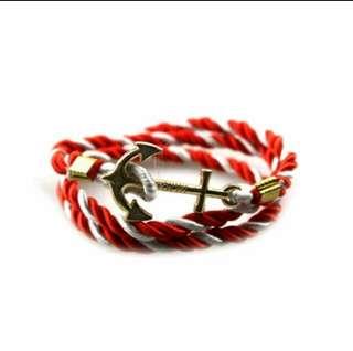 ⛵ Nautical Anchor Bracelet - Red & White