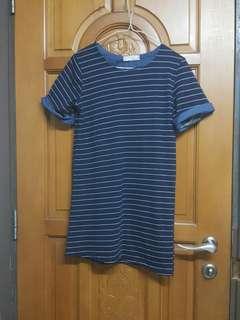 藍色橫間短袖長衫 上衣