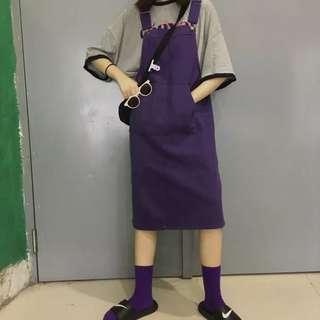 🚚 穿過一次 寬鬆吊帶牛仔裙 吊帶裙 紫色