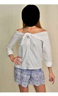 Zara Tie Front Off-Shoulder Blouse