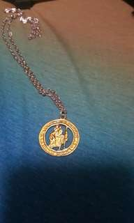 Saint St Christopher guardian angel pendant with chain bought in Singapore