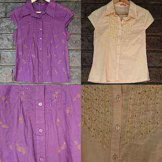 Bundled Tops - 2 for 299 Purple and Cream Top (Collared / Buttoned / Short Sleeves / Smart Casual / Office Attire / Inner)