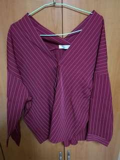 Maroon stripes off-shoulder blouse
