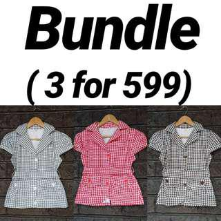 Bundles Tops - 3 for 599: Printed Top with Belt (Collared / Buttoned / Short Sleeves / Smart Casual / Office Attire / V-Neck)