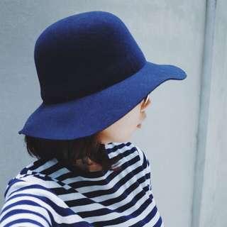 🚚 優雅海軍藍毛呢寬邊帽