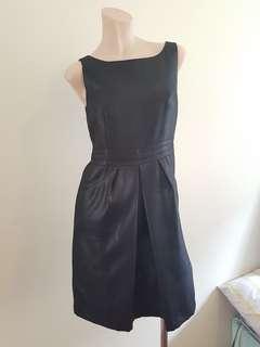 Black metallic square neck dress in size 8