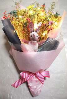 Dried Flower Bouquet glow with LED light and bunny