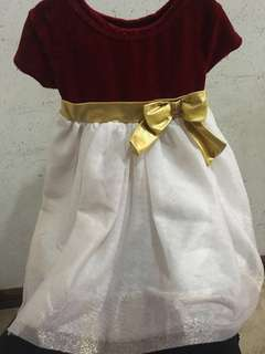 Dark red with Gold bow and glittery bottom dress for Baby girl 18-24 months
