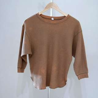 Uniqlo brown waffle Top S size