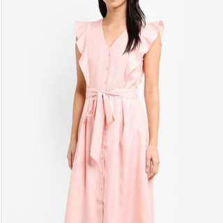 Pink Midi Ruffle Dress