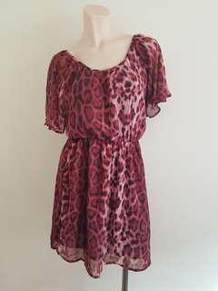 Bardot floaty dress in Burgundy/black in size 8