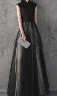 Elegant black 2 tone evening gown / dress