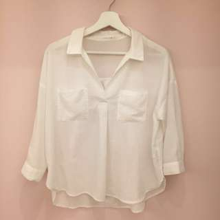🚚 Lowrys farm 純棉白色七分袖襯衫