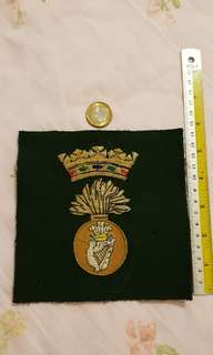 Vintage original rare British Army Royal Irish Fusiliers Large cloth embroidered Badge on material.