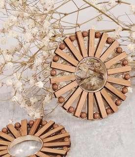 BNIB HVV Wooden Circle Earrings