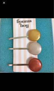日本 Beams Boy 絕版 珍珠面 白 金 銅色 銀色 髮夾 Hair Pin