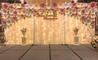 Paper flowers backdrop rental