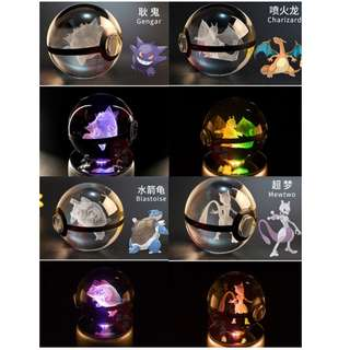 3D Pokemon Crystal with Rotating LED lights base Music box (Decoration and Display) Bluetooth/SD Card