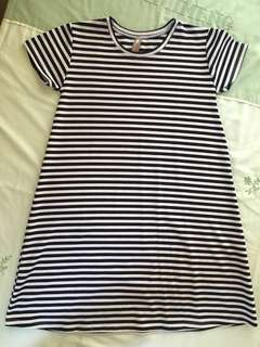 White & black striped A-line dress