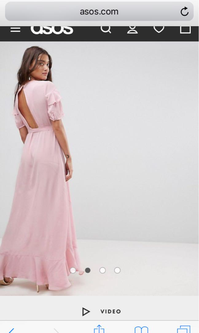 ASOS Short sleeve ruffle wrap maxi dress