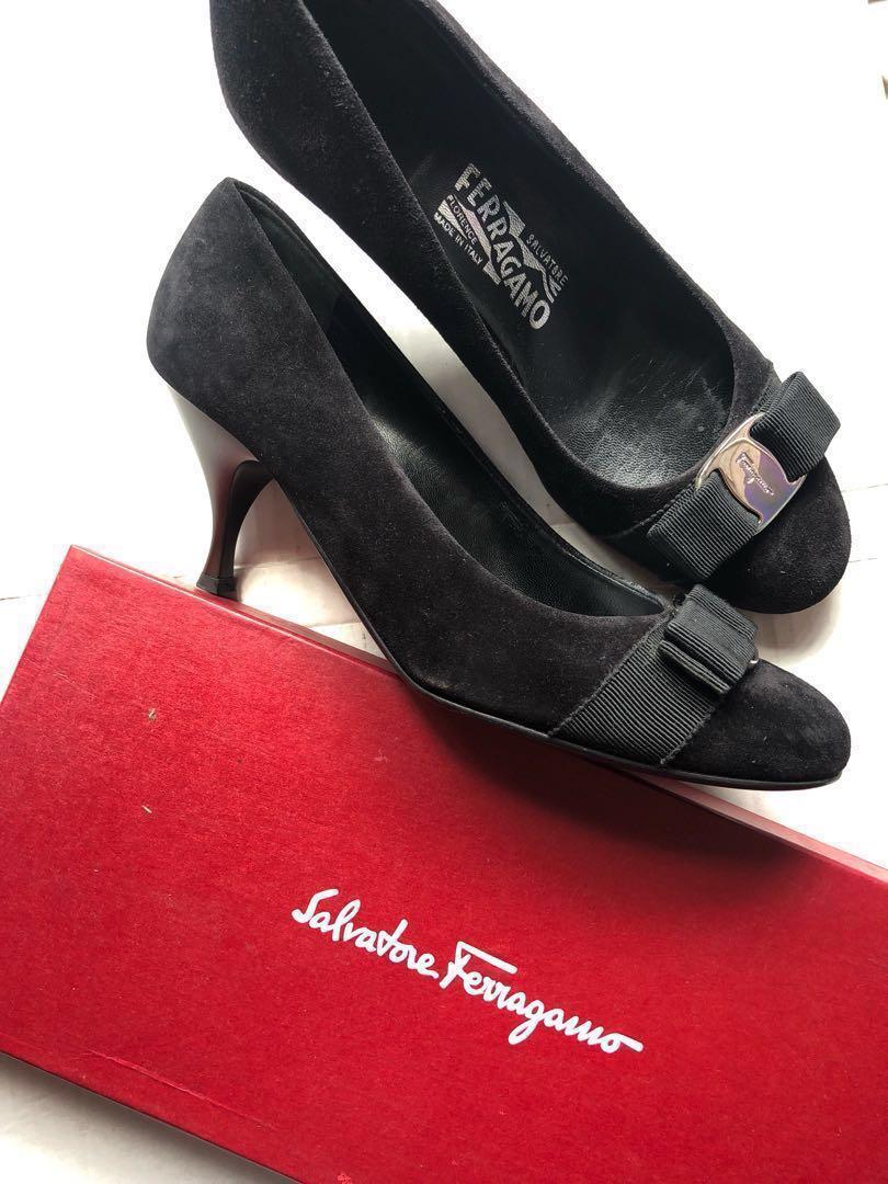 0cc626a08d AUTH Salvatore Ferragamo shoes black suede heels size 7d, Luxury ...