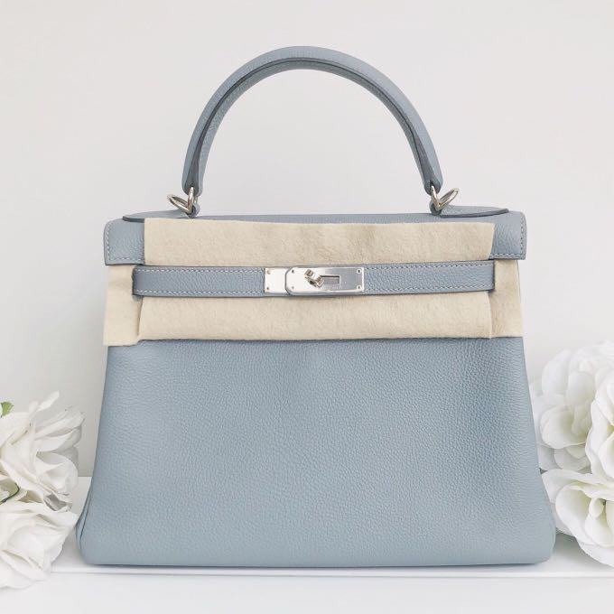 afa20024512 Authentic Like New Hermes Kelly 28 Blue Lin Togo Phw Q stamp