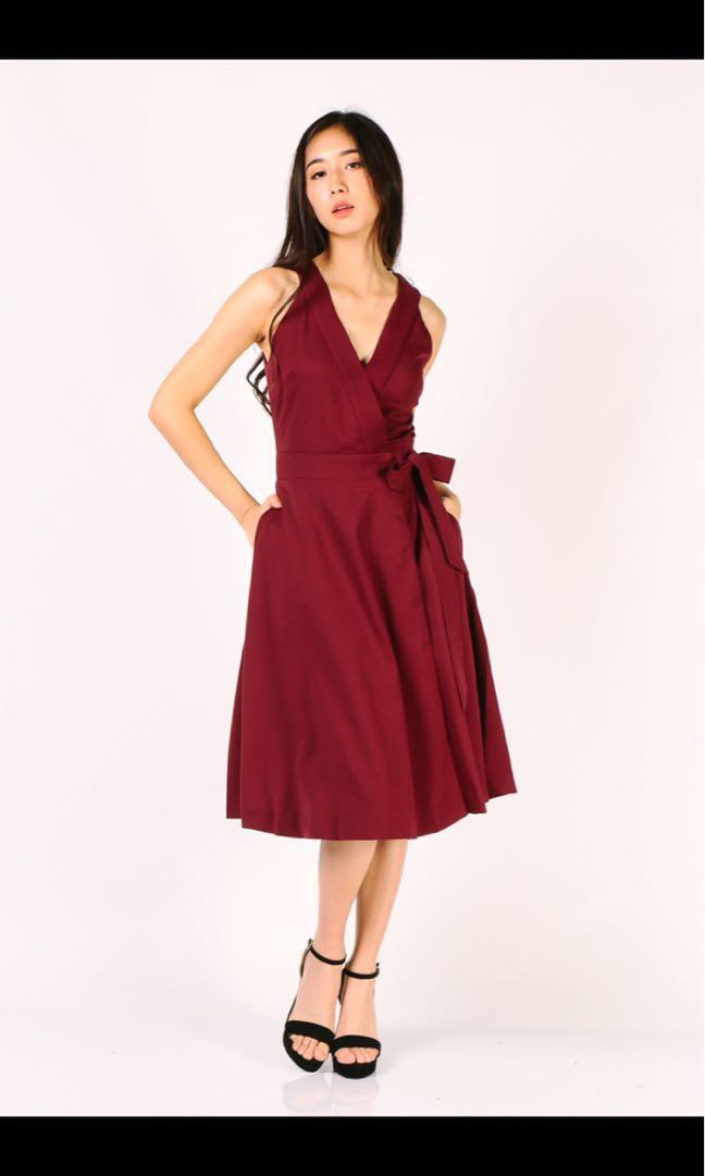 184bf0fc7a13 BNWT Dressabelle Midi dress (Maroon)