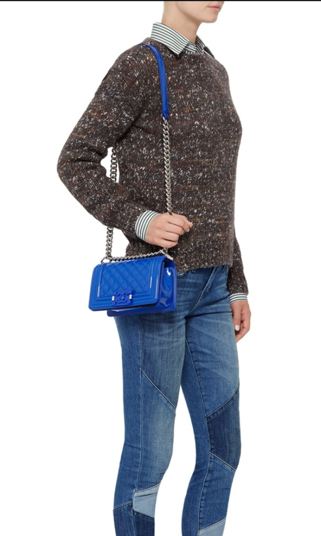 Chanel Blue Marine Quilted Patent Small Boy Bag da58afcd258af