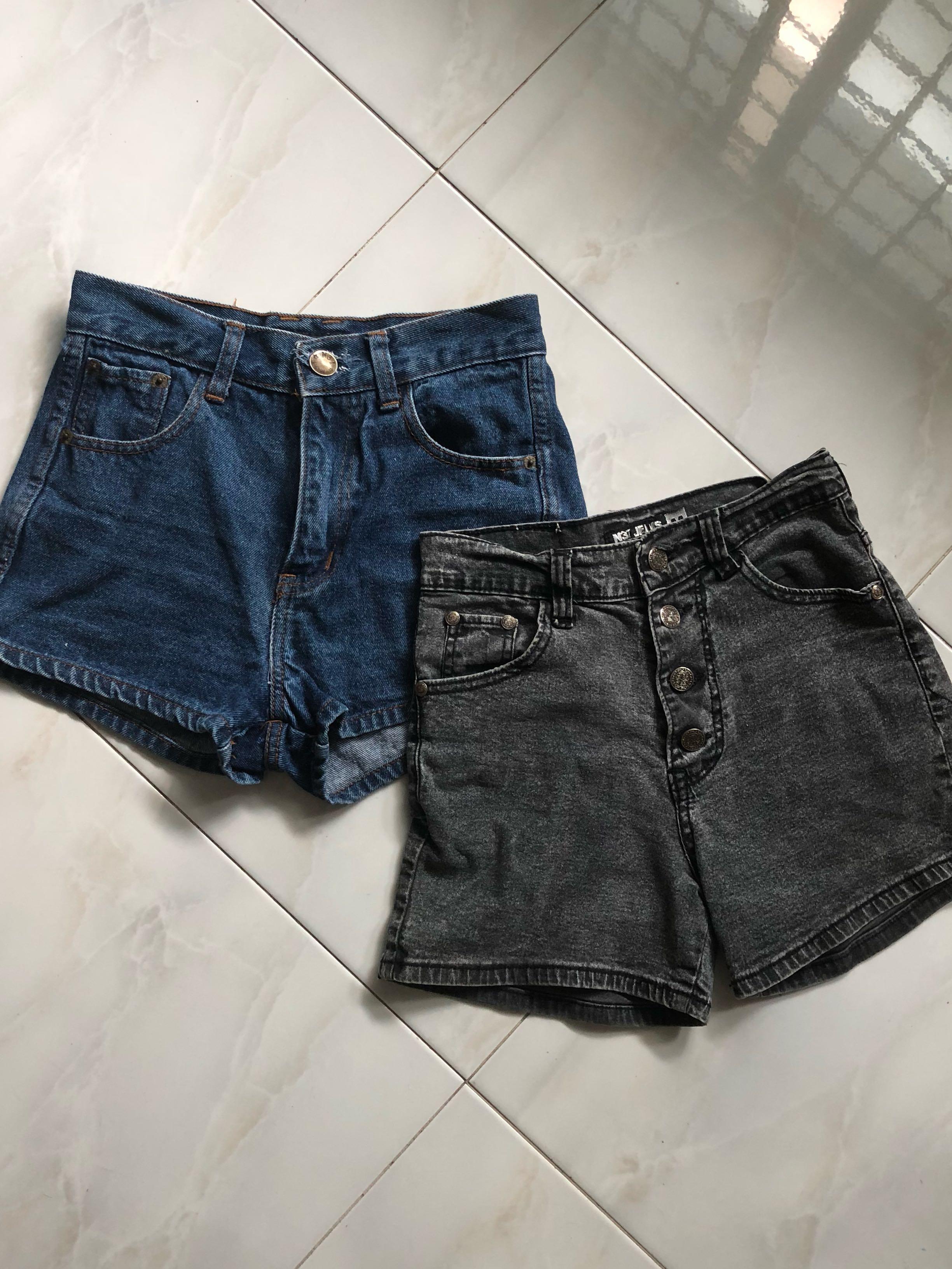 18987671f166e denim shorts( paper-bag, high waist, frayed, tie-dye), Women's ...
