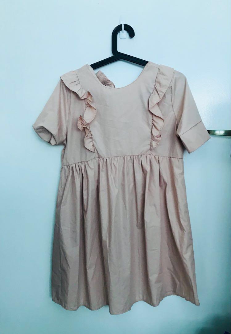 de691011cc59f Dusty Pink Ruffles Baby Doll Dress, Women's Fashion, Clothes ...