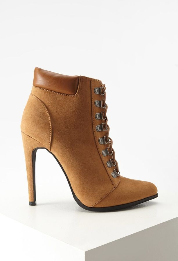 95ec63548163 Forever 21 Faux Suede Lace Up Booties