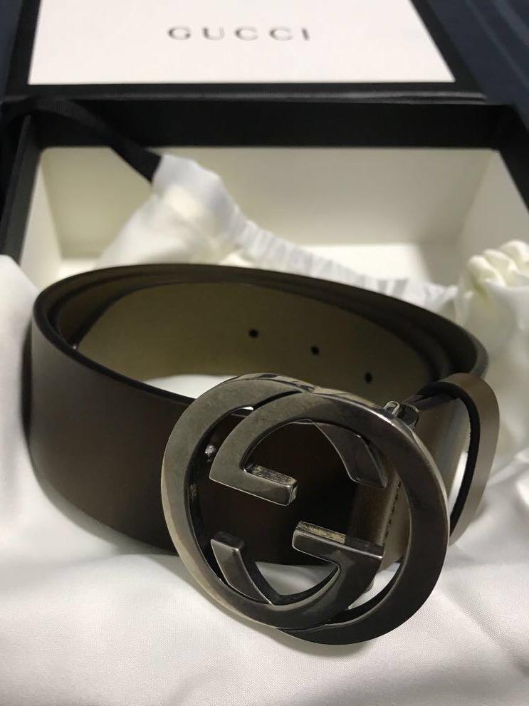 7263f9cf1 Gucci Interlocking G Logo Leather Belt, Men's Fashion, Accessories ...