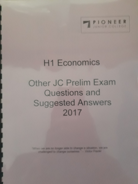 H1 Economics Prelim Questions and Answers, TYS (2009 - 2015) and Economics  Survival Kit