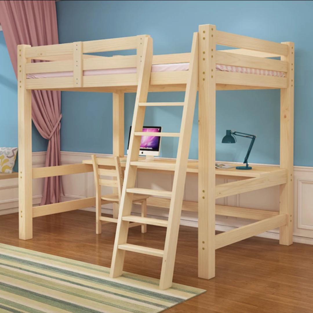 Ikea Wooden Loft Bed Frame With Table