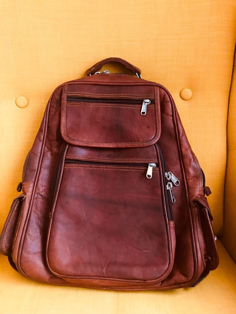Laptop bag, handcrafted, pure Camel leather