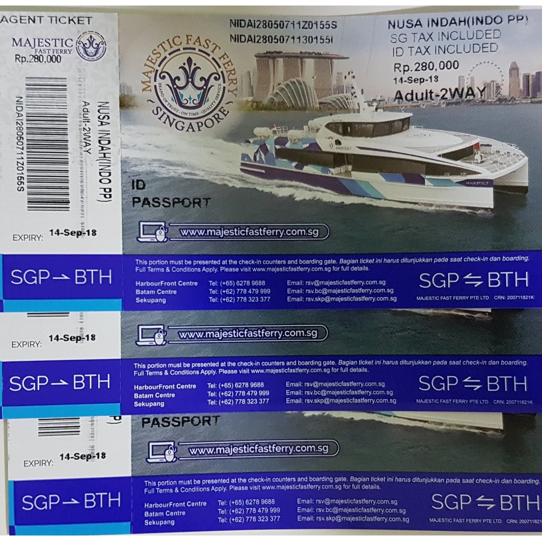 Majestic ferry 1-way ticket SGP to BTH for Indonesian passport only