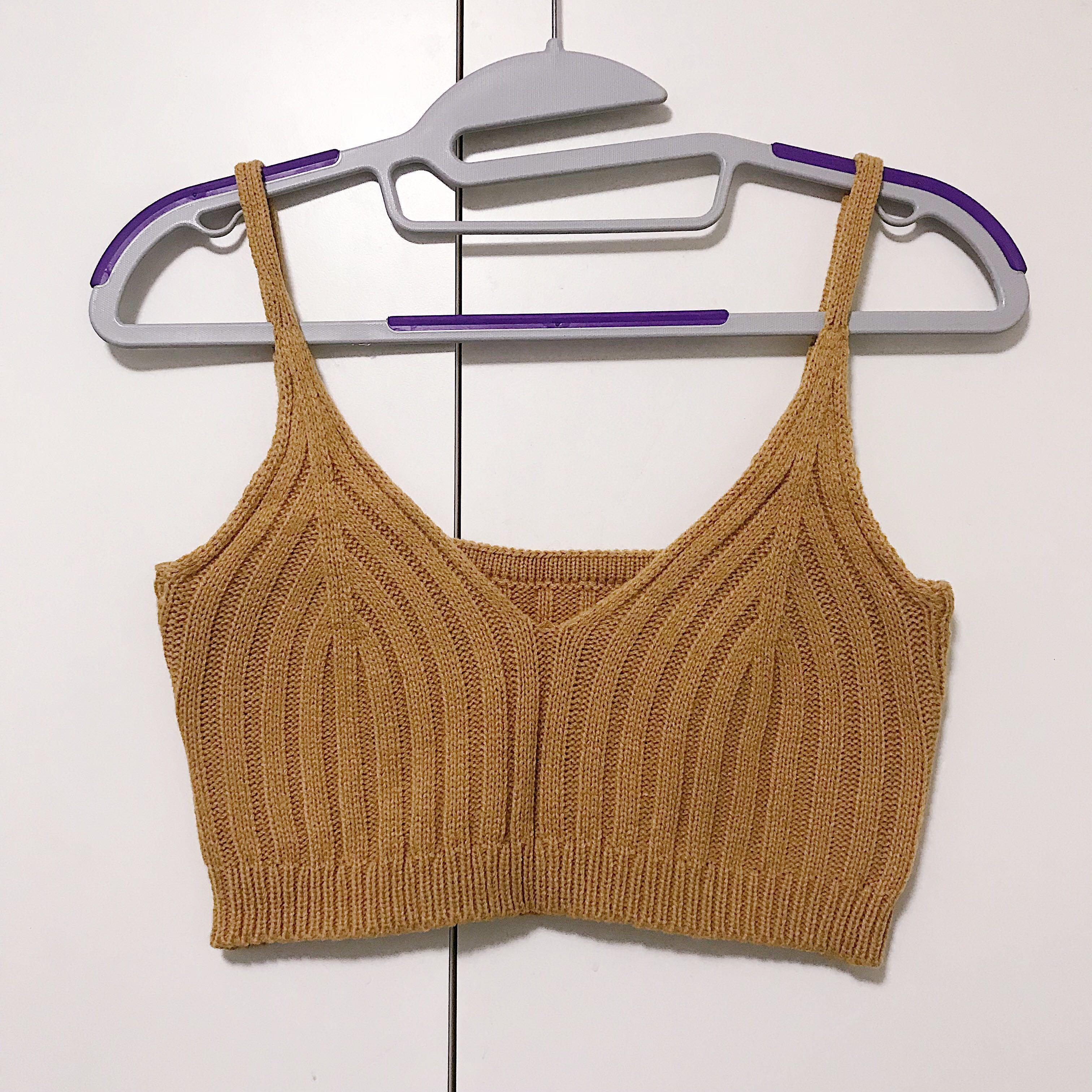 db384752696 Mustard Knitted Bralette