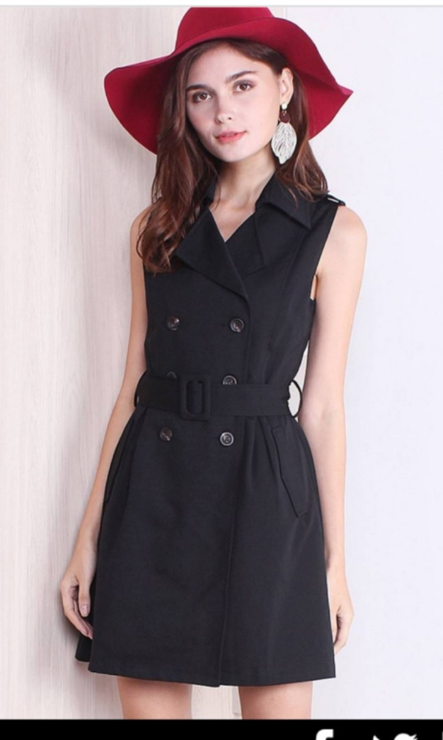 b7f93fb84389f3 Neonmello NM GEORGIA TWO-WAY BELTED TRENCH DRESS IN BLACK Size L ...