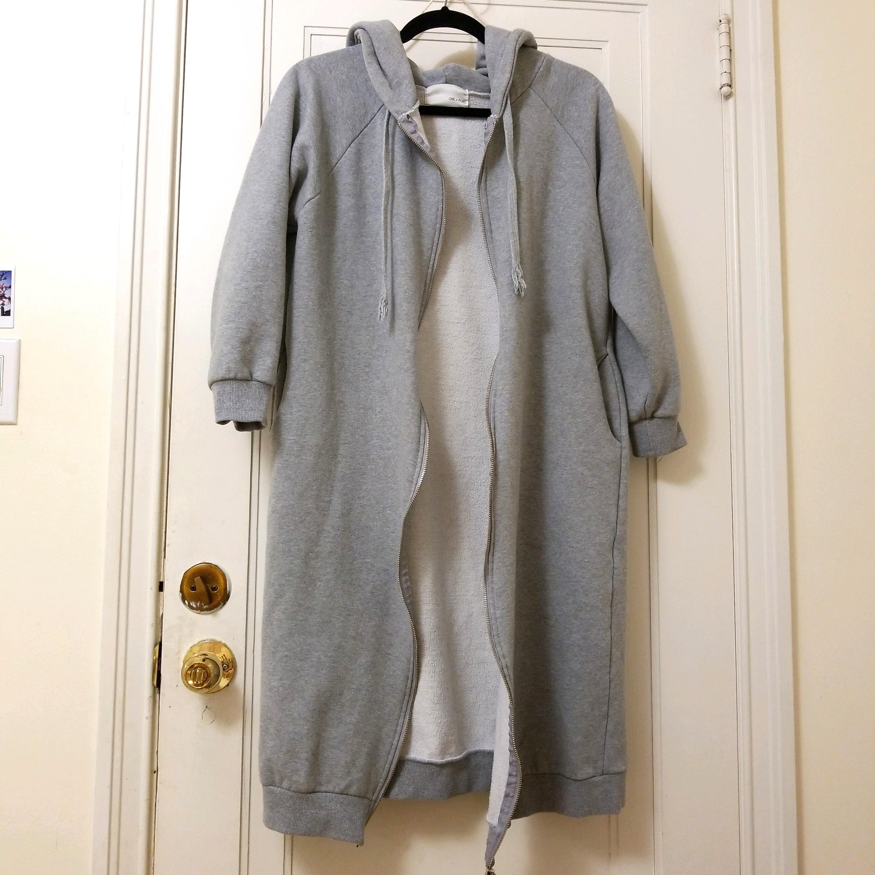 Oak and fort long grey hoodie o/s