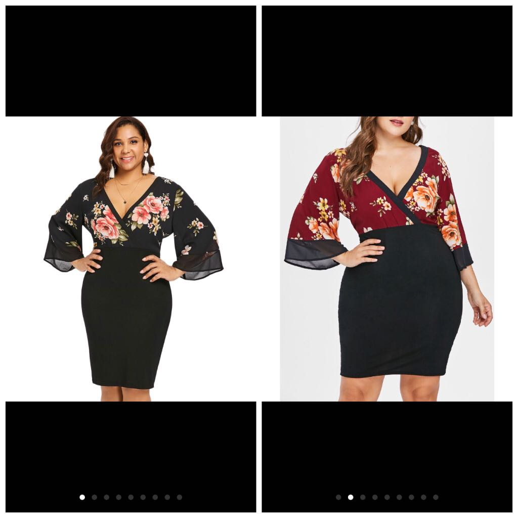 eb24d739be4 PLUS SIZE Bell Sleeve Low Cut Floral Dress