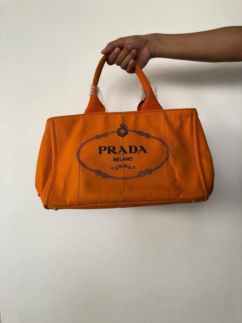 cdc1eef8b628 Prada CANAPA Tote Bag Canvas Orange BN1877
