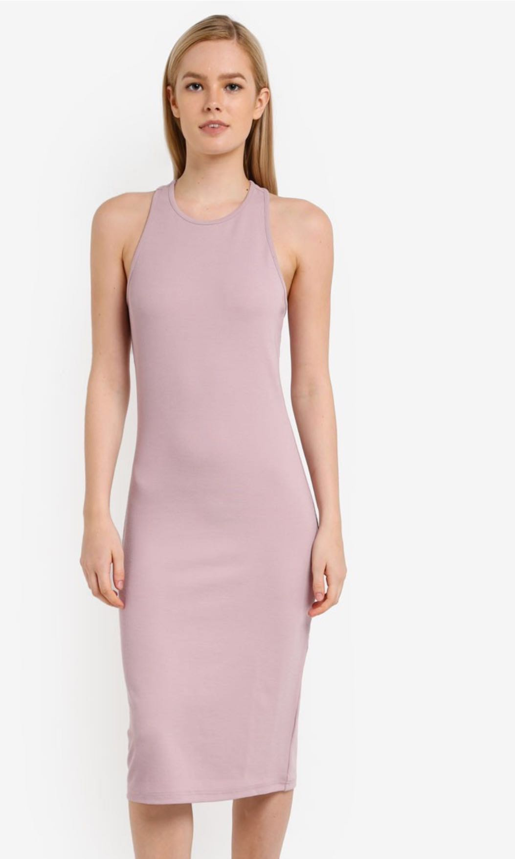 fc5dc6ef416 Something borrowed back detail small racer bodycon dress in dusty ...