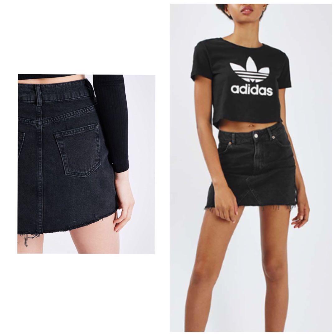 a7936494a18 TOPSHOP MOTO Frayed Raw Hem High Waist Denim Mini Skirt (Black ...