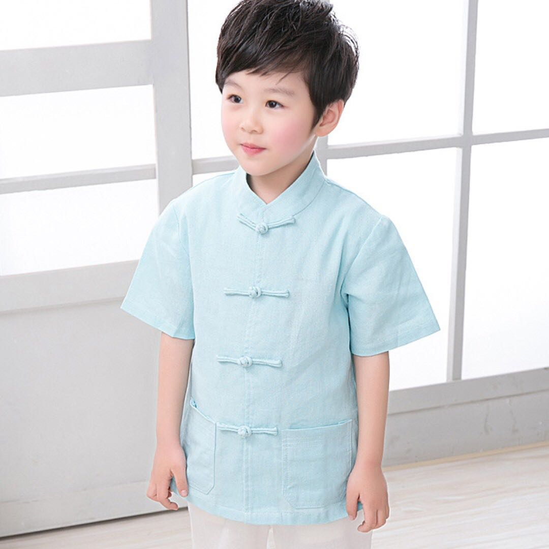 d47790b7 TZ021 New Toddler Boys Turquoise Top CNY Tangzhuang Traditional Shirt ,  Babies & Kids, Boys' Apparel on Carousell