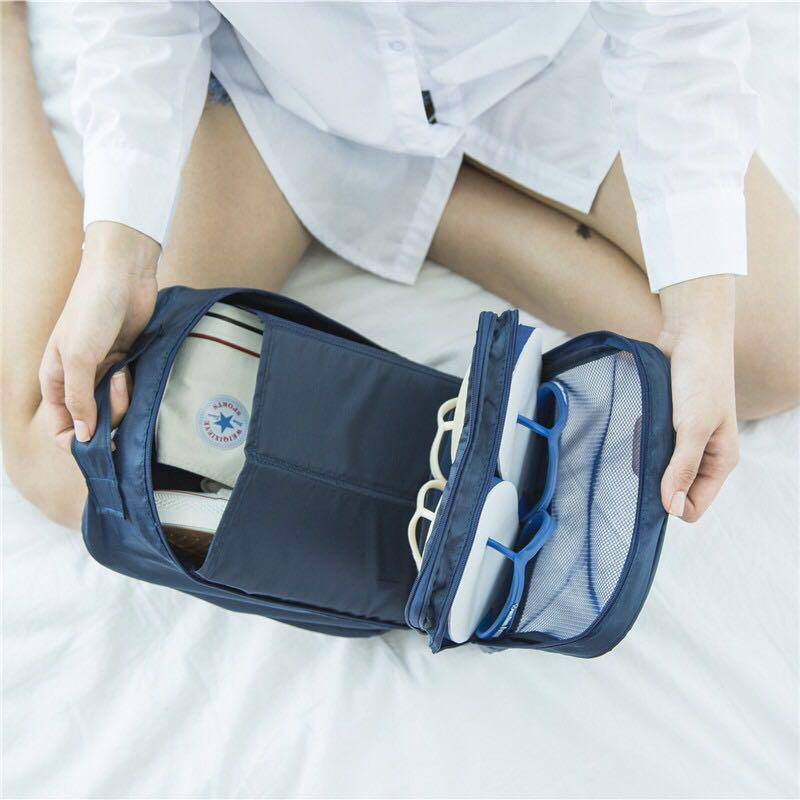 Waterproof Shoe Travel 3layer Pouch Portable Tote Organizer Storage Bag