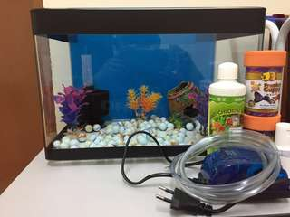 Aquarium Fish Tank Complete Set with filter and decoration
