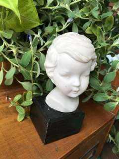Vintage Head Bust Face Commission statue of boy on wood base.