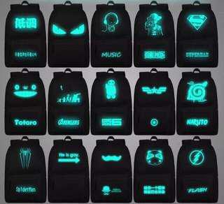 Glow in the dark bag pack